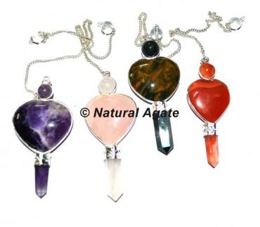 Mix Gemstone Heart Pencil Pendulums