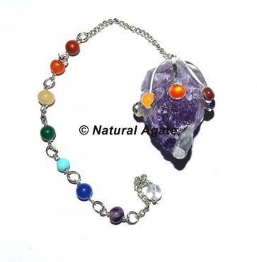 Amethsyt Chakra Pendulums with Chakra Chain
