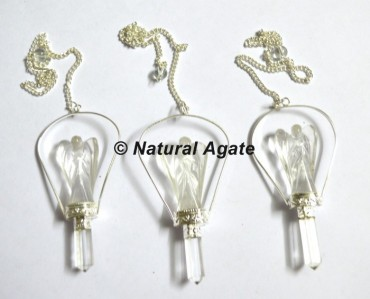 Crystal Quartz Angel Pendulums