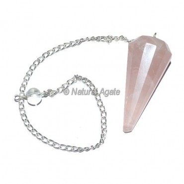 Rose Quartz 12 Faceted Pendulum