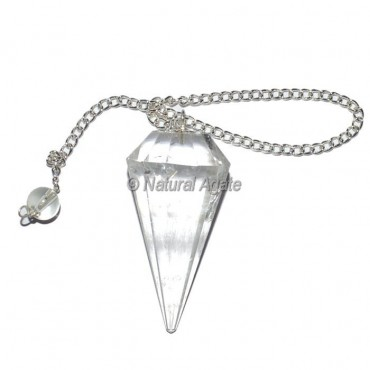 Crystal Quartz 12 Faceted Pendulum