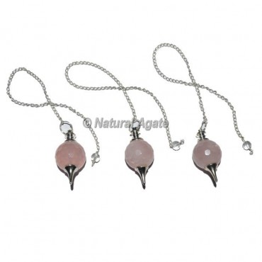 Rose Quartz Faceted Ball Pendulums