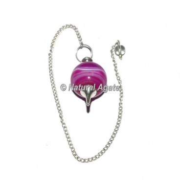 Pink Agate Ball With Silver Chain Pendulums