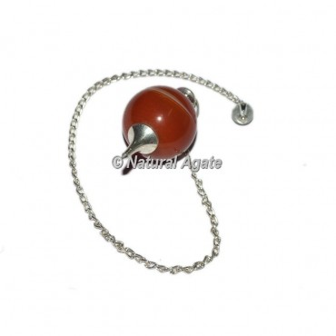 Red Agate Ball With Silver Chain Pendulums
