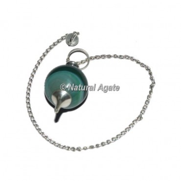 Green Onyx Ball With Silver Chain Pendulums