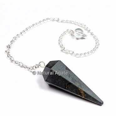 Black Tourmaline 6 Faceted With Silver Chain Pendulums