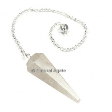 Crystal Quartz 6 Faceted With Silver Chain Pendulums