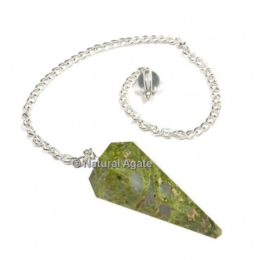 Unakite 6 Faceted With Silver Chain Pendulums