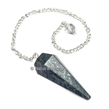 Hematite 6 Faceted With Silver Chain Pendulums