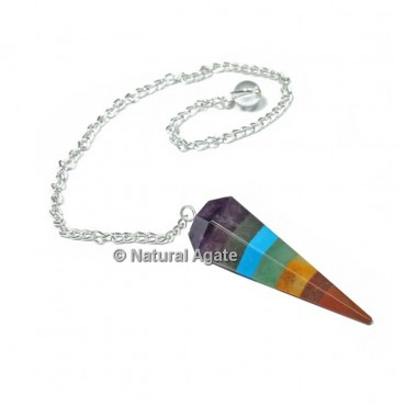 Bonded 7 Chakra 6 Faceted With Silver Chain Pendulums