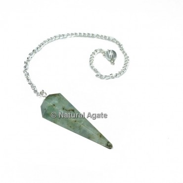 Labradorite 6 Faceted With Silver Chain Pendulums