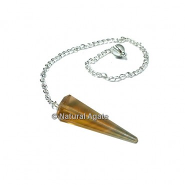 Brown Fluorite 6 Faceted With Silver Chain Pendulums