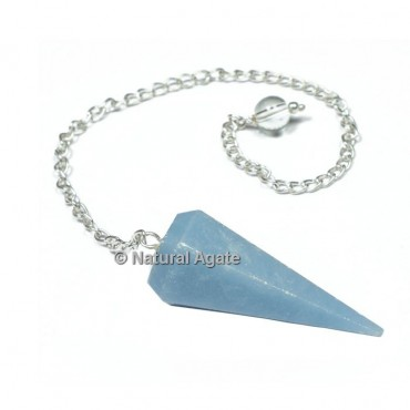 Angelite 6 Faceted With Silver Chain Pendulums