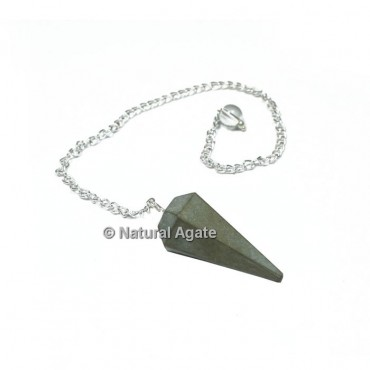 Pyrite 6 Faceted With Silver Chain Pendulums
