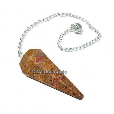 Snake Jasper 6 Faceted With Silver Chain Pendulums