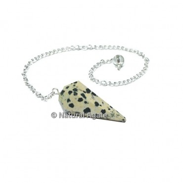 Dalmation 6 Faceted With Silver Chain Pendulums