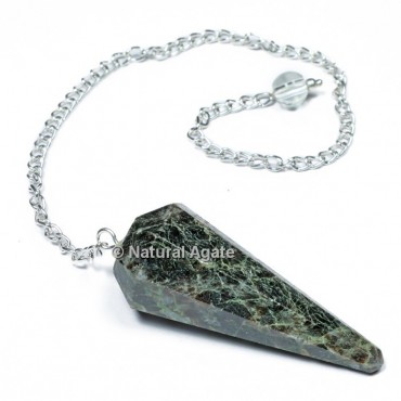 BudStone 6 Faceted With Silver Chain Pendulums