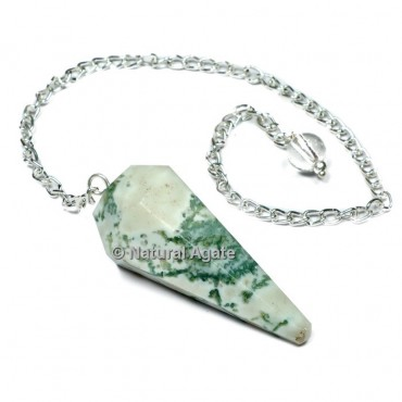 Tree Agate 6 Faceted With Silver Chain Pendulums