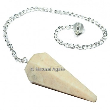 Moonstone 6 Faceted With Silver Chain Pendulums