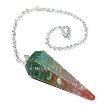 BloodStone 6 Faceted With Silver Chain Pendulums