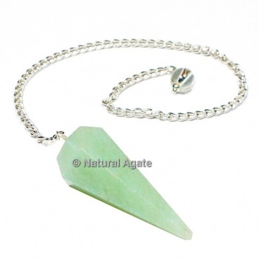 Amazonite 6 Faceted With Silver Chain Pendulums