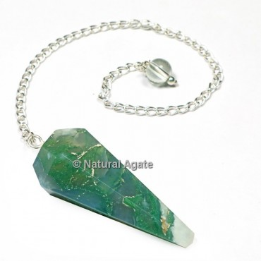 Moss Agate 6 Faceted With Silver Chain Pendulums