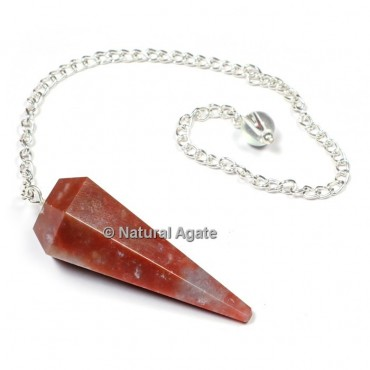 Red Agate 6 Faceted With Silver Chain Pendulums