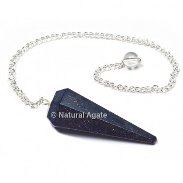 Blue Sunstone 6 Faceted With Silver Chain Pendulums