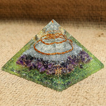 Peridot and Amethyst Orgonite Pyramid with Silver Dust and Copper