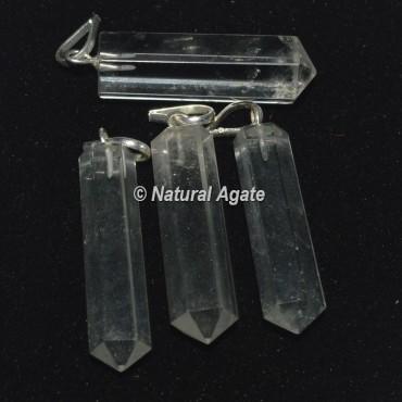 Crystal Quartz Pencil Pendants