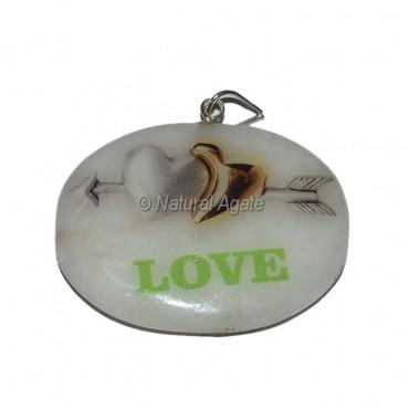 White Agate Love Printed Pendants