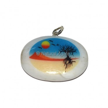 White Agate Natural Printed Pendants