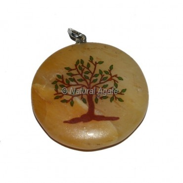 Natural Tree Golden Quartz Printed Pendants