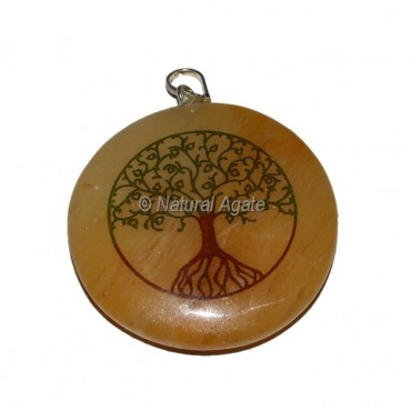 Tree Of Life Golden Quartz Printed Pendants