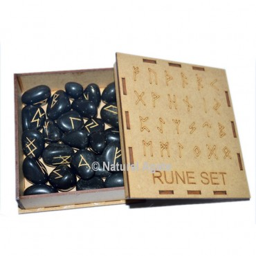 Black Obsidian Rune Set With Gift Box