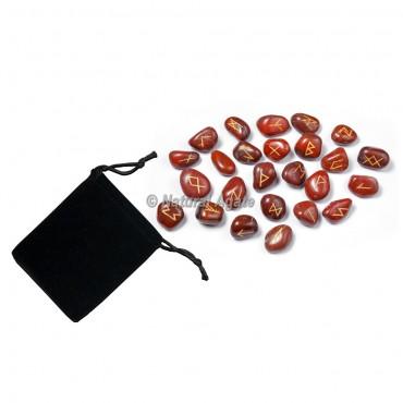 Red Jasper Rune Set with Pocket