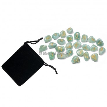 Green Aventurine Rune Set with Pocket