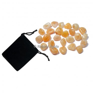 Golden Quartz Rune Set with Pocket