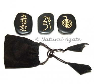 Black Agate Reiki Sets with Pouch