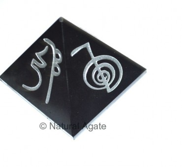 Black Agate Usui Reiki with White Symbol