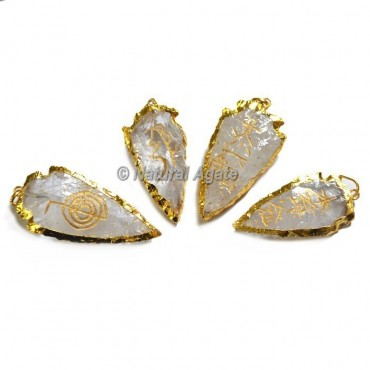 Crystal Quartz Arrowhead Golden Plated  Tumble stone Usui Reiki Set