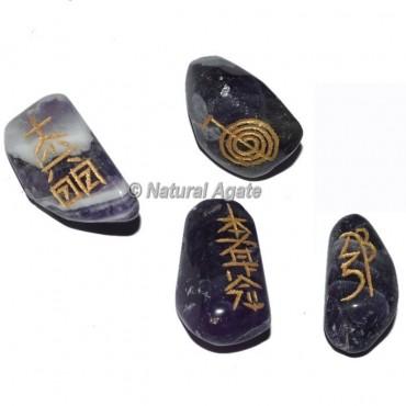 Amethyst  Tumble stone Reiki Set