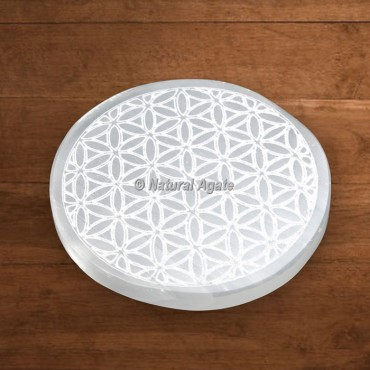Selenite Engraved Flower Of Life Charging Plate