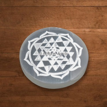 Selenite Engraved Shree Yantra Charging Plate