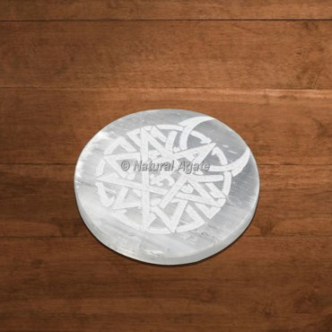 Selenite Charging Plate Engraved Vector Celtic Moon