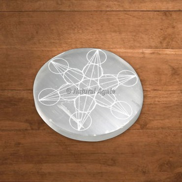 Selenite Engraved Metatron Cube Charging Plate