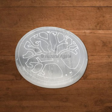 Selenite Engraved Tree Of Life Charging Plate