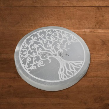 Selenite Charging Plate Engraved Beautiful Tree Of Life