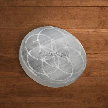 Selenite Charging Plate Engraved Seed Of Life