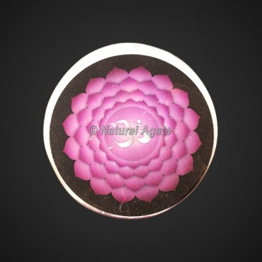 Crown Chakra Printed Selenite Charging Plate | Selenite Coaster